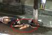 惊呆!一身穿时尚女子趴在民兴路不动,路边还有一辆电车倒在地上
